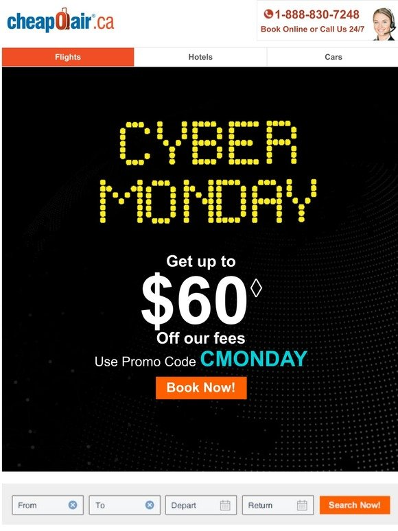 Cheapoair Ca Confirmed Cyber Monday Flight Deals Milled