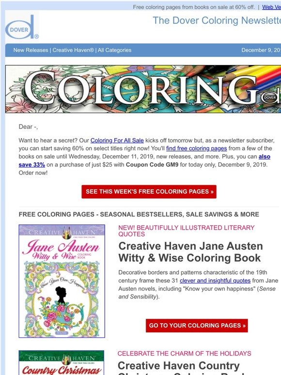 - Dover Publications: Coloring Books For Everyone On Your List + Free  Coloring Pages Milled