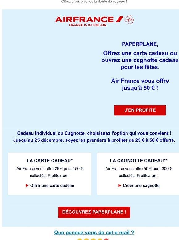 carte cadeau air france Air France   FR: 🎁 Pour les fêtes, jusqu'à 50€ offerts par Air