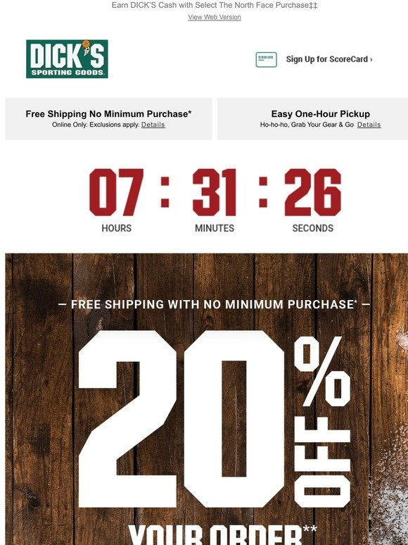 Dick's Sporting Goods: Final Hours! 20% Off + FREE Shipping