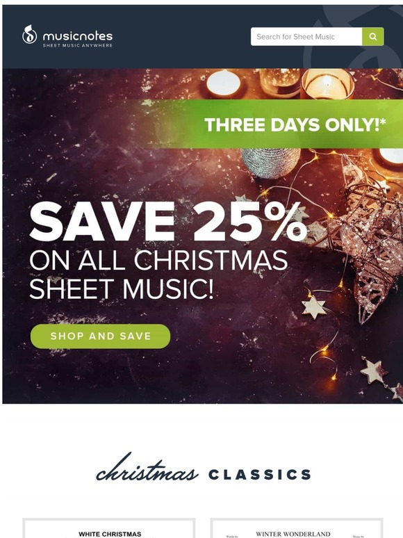 Musicnotes Com Tis The Season For 25 Off Christmas Music Milled