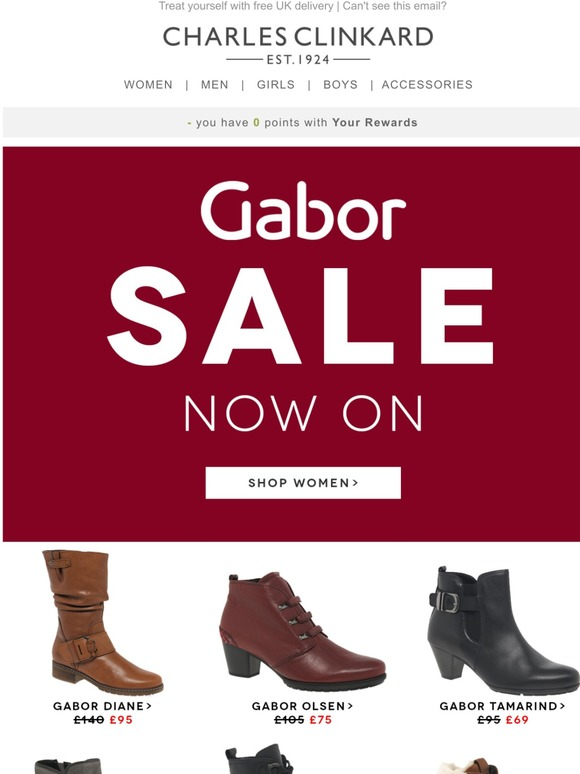 Charles Clinkard: Gabor Sale! </p>                     </div> 		  <!--bof Product URL --> 										<!--eof Product URL --> 					<!--bof Quantity Discounts table --> 											<!--eof Quantity Discounts table --> 				</div> 				                       			</dd> 						<dt class=