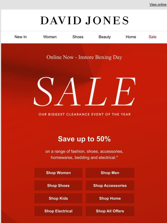 David Jones Online Now Our Biggest Sale Of The Year Milled