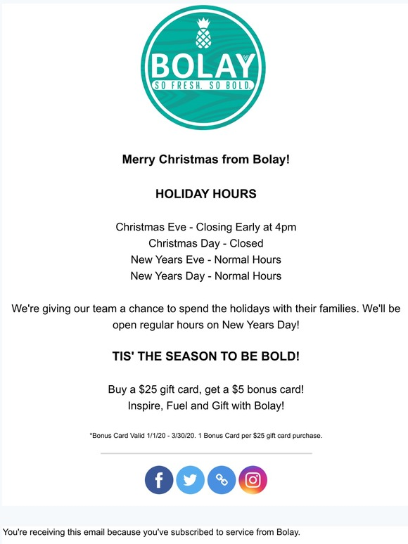 Bolay Enterprises New Years Eve Usual Hours Milled