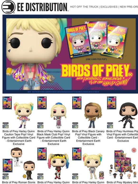 Entertainmentearth Com New Birds Of Prey Funko Pop S With Collectible Card Milled