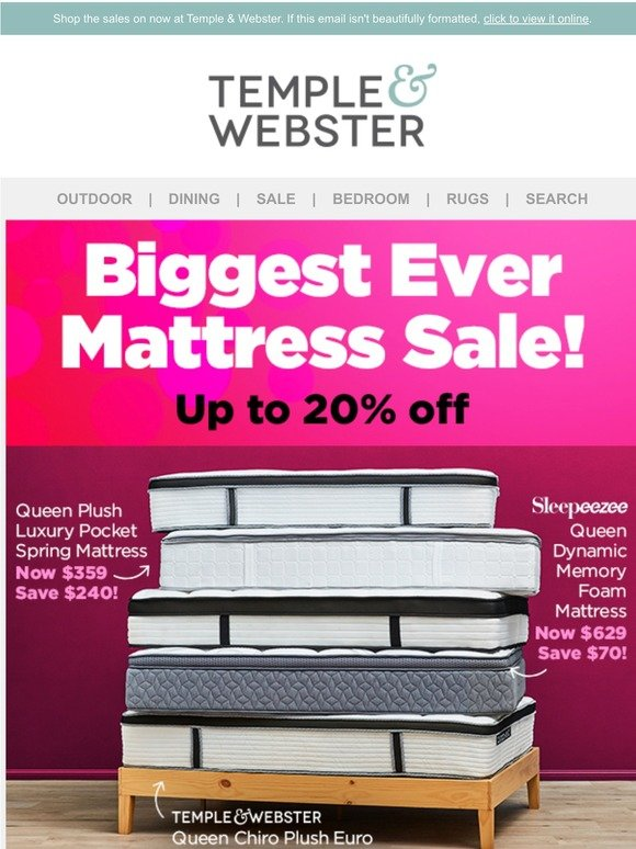 Temple and Webster: Biggest Mattress Sale, EVER! | Office