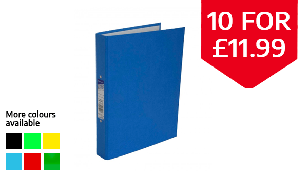 Ryman Colour Ringbinder A4 2-Ring Pack of 10