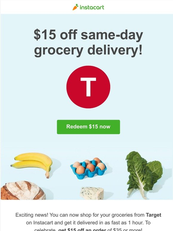Instacart Inc Get 15 Off Target Delivery With Instacart Milled