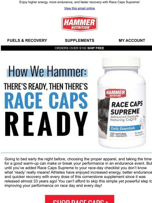 Hammer Nutrition Get Race Caps Ready
