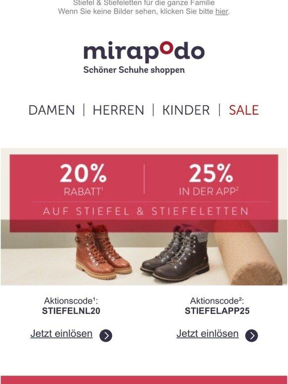 mirapodo: FLASH SALE: 20% Rabatt auf Schuhe und Taschen