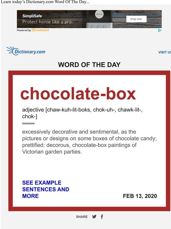 Dictionary Com Chocolate Box Word Of The Day Milled