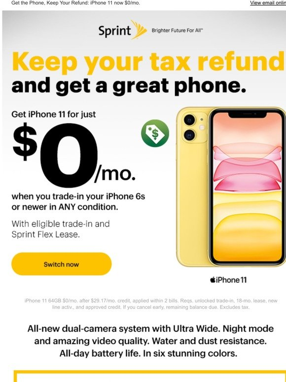 Sprint Shop Smart With Your Tax Refund Iphone 11 For 0 Mo Milled