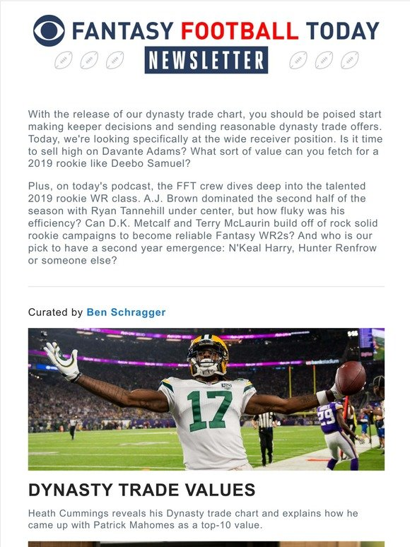Cbs Sports Dynasty Values 2019 Rookie Wr Report Card Milled
