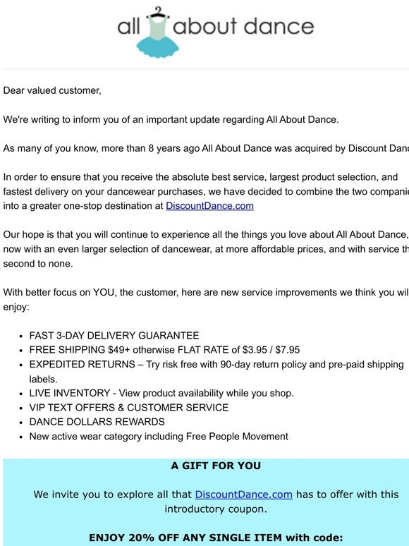 Discount Dance Supply: Important Update