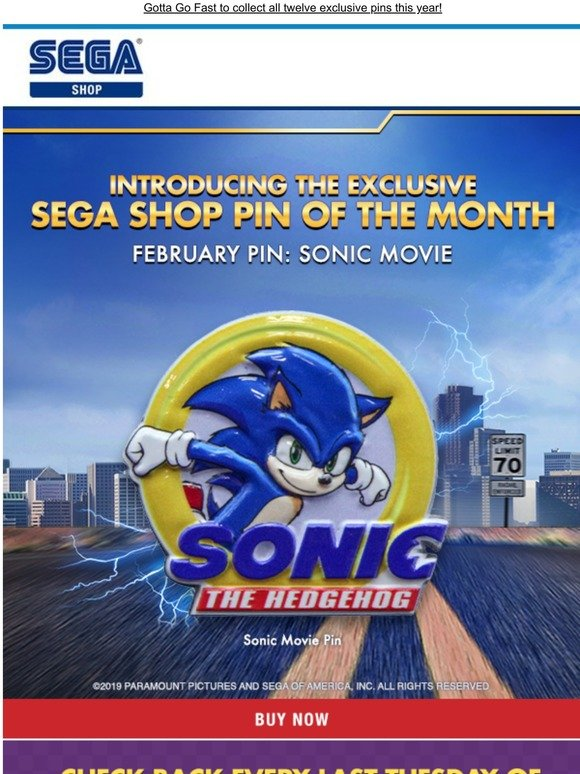 Shop Sega See Our New Pin Of The Month Celebrating The Sonic Movie Milled