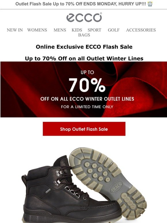 ECCO UK: Outlet Flash Sale, Up to 70
