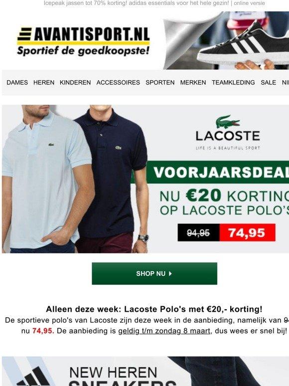 Avantisport.nl: €20 KORTING op Lacoste Polo's! Nieuwe adidas ...
