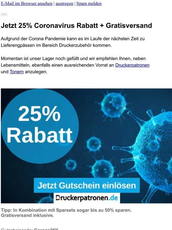 -25% Corona-Virus Rabatt ⚠️ Begrenzte Verfügbarkeit ⚠️