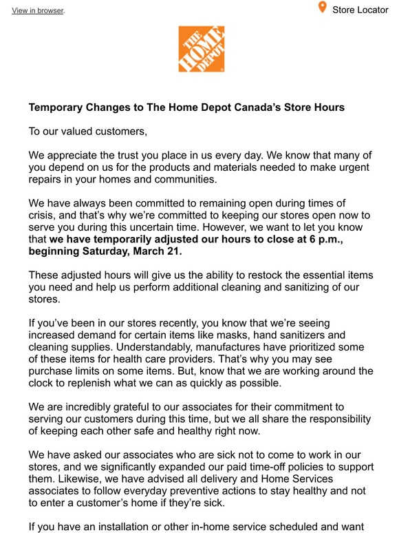 Homedepot Ca Temporary Changes To The Home Depot Canada S Store Hours Milled