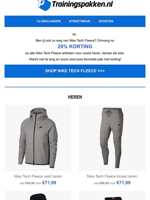 Trainingspakken.nl: Nog meer korting op Nike Tech Fleece ...