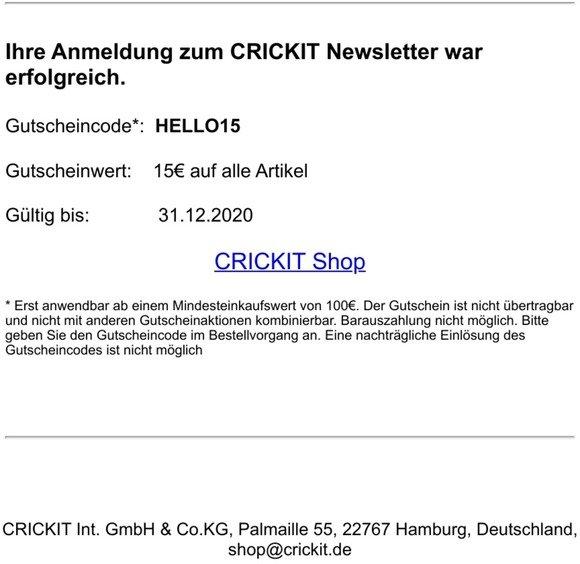 Ihr 15€ Gutscheincode von CRICKIT
