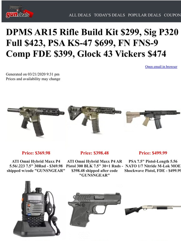 Gun Deals Ammo Is Out Of Stock But There Are Some Great Deals On Guns Milled