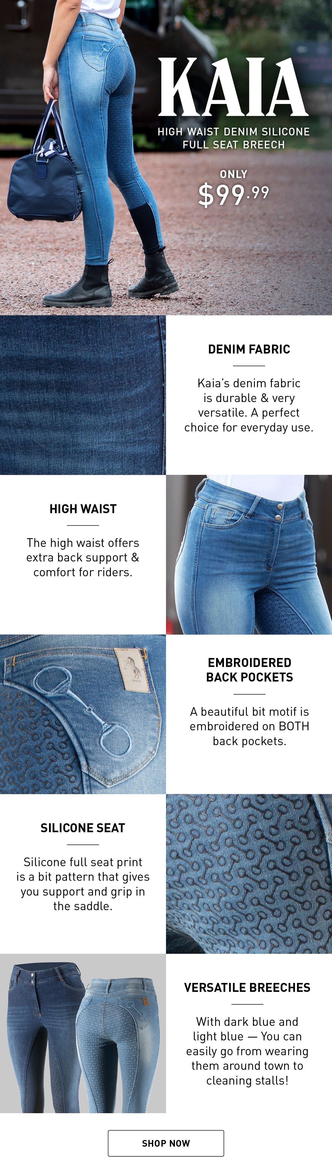 Horze Womens Limited Edition Kacy Full Seat Breeches Denim