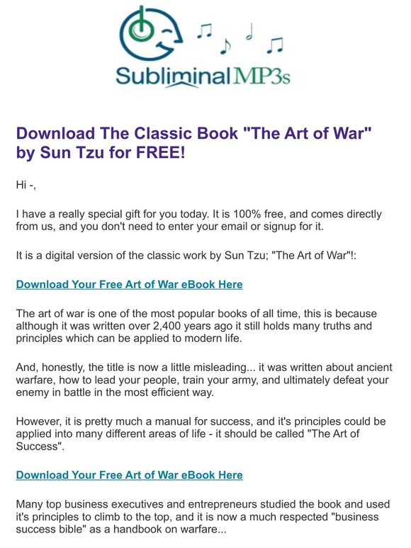 Subliminal Mp3s In Quot Launch Quot Now 20th 27th April Triple Conversions Free Ebook The Art Of War Instant Download Milled