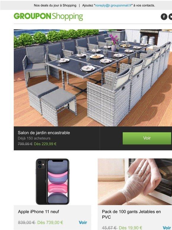 Groupon Fr Salon De Jardin Encastrable Apple Iphone 11 Neuf Pack De 100 Gants Jetables En Pvc Matelas Empereur Memoire De Forme Plus Encore Milled