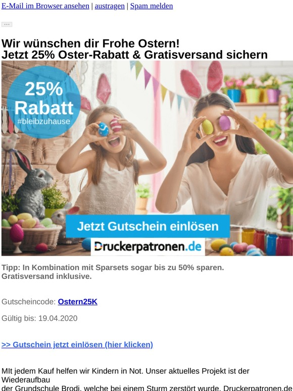 Frohe Ostern! Jetzt 25% Rabatt + Gratisversand