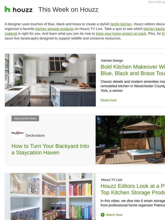Houzz Blue Black And Brass Kitchen Makeover 6 Smart Storage Ideas On Tv Live Bathroom Of The Week Milled
