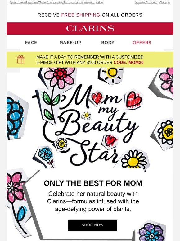 Clarins Our Top Mother S Day Picks Your Free 5 Piece Gift Milled