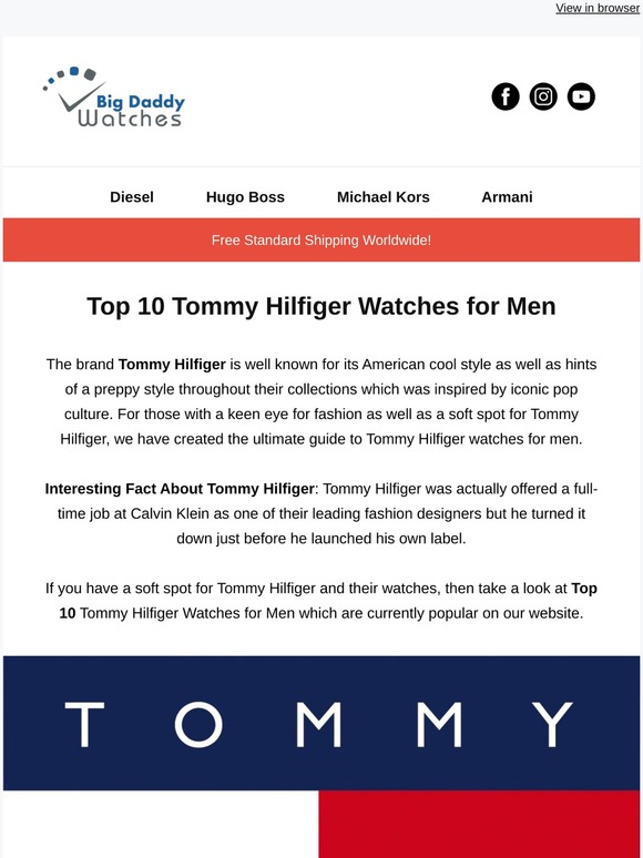 Bigdaddywatches Top 10 Tommy Hilfiger Watches For Men Milled
