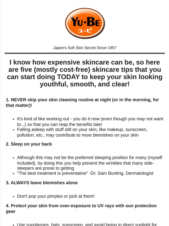 Yu Be 5 Expert Dermatologist Skincare Tips Milled