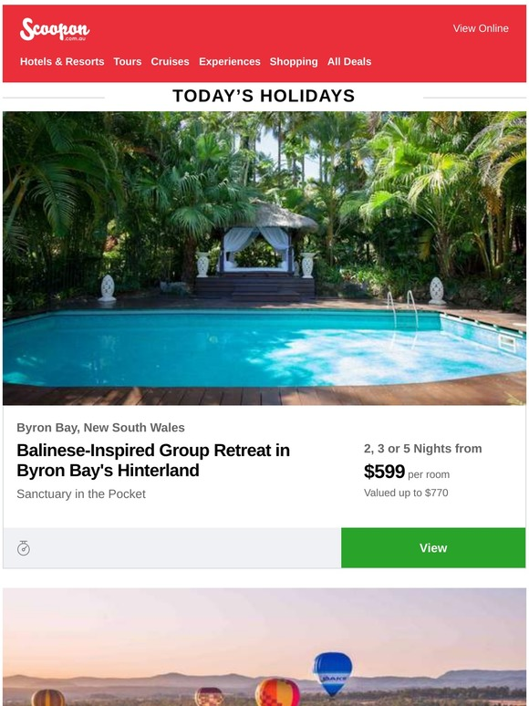 Scoopon Byron Bay Bali Style Group Retreat Hunter Valley Wine Country Escape Last Call Relaxing Noosa Stay Milled