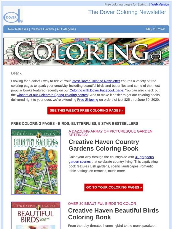 - Dover Publications: Top Coloring: Country Gardens, Beautiful Birds & More  Milled