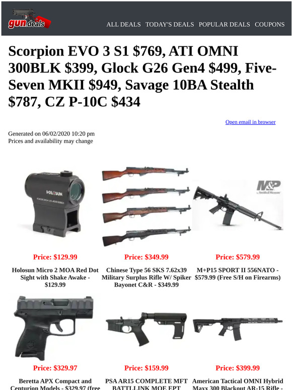 Gun Deals Flamethrower 529 Chinese Type 56 Sks 349 M P15 Sport Ii 579 Beretta Apx Compact And Centurion 329 Sig Sauer P220 399 Milled