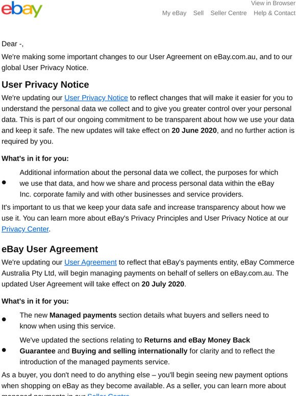 Ebay Au Updates To Ebay User Agreement And User Privacy Notice Milled