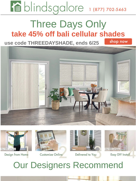Blindsgalore Three Days Only To Take 50 Off Custom Bali Cellular Shades Milled