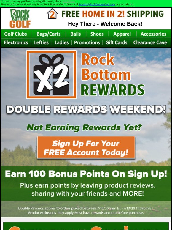 Rock Bottom Golf Ebay Earn Free Golf Gear 100 Free Rewards Points To Get You Started Milled