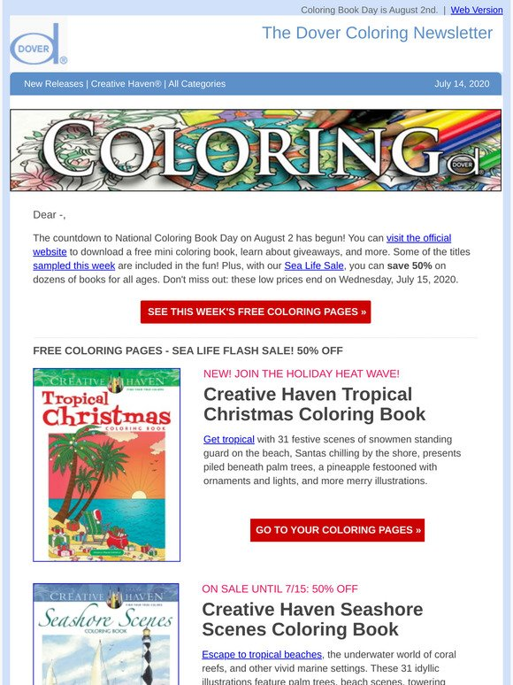 Dover Publications: Countdown To National Coloring Book Day: Learn More  Milled