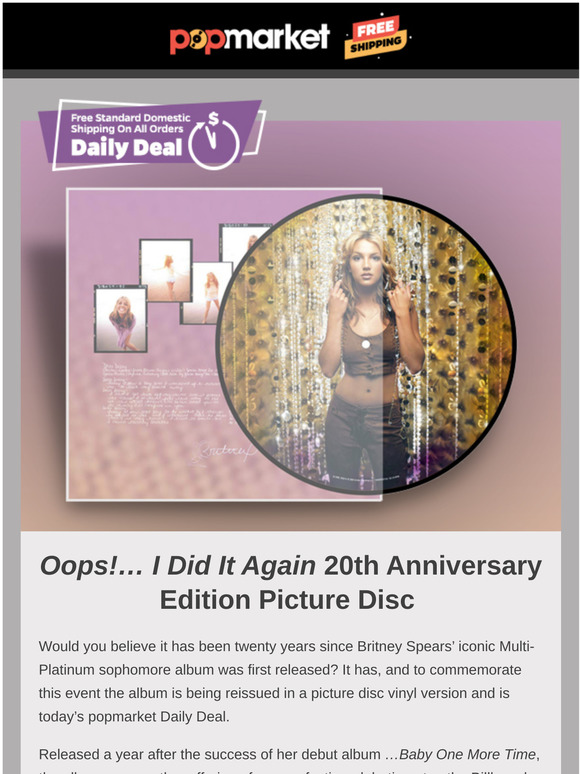 Pop Market Britney Spears Oops I Did It Again Is 20 Plus Free Shipping On Every Domestic Order Milled