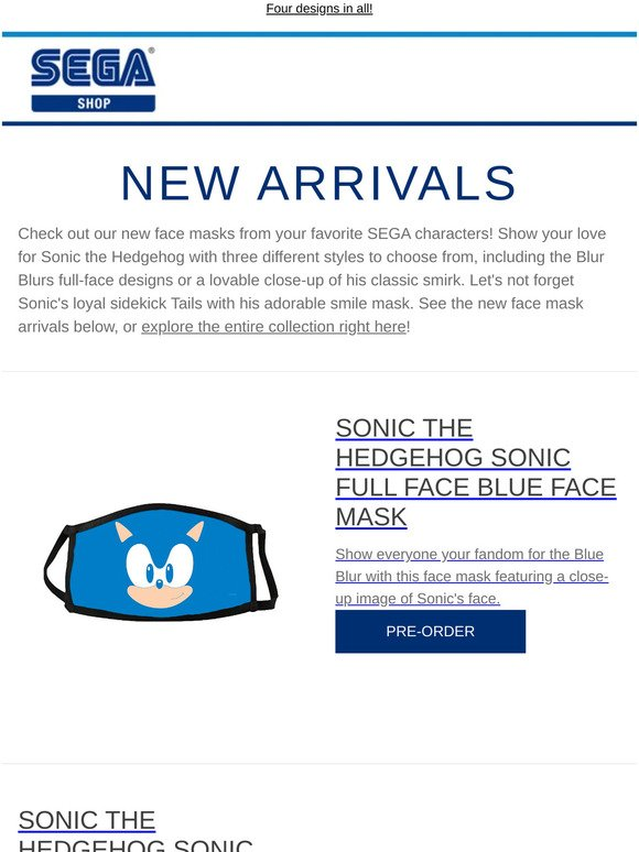 Shop Sega Check Out Our New Face Masks Of Sonic The Hedgehog And Tails Milled