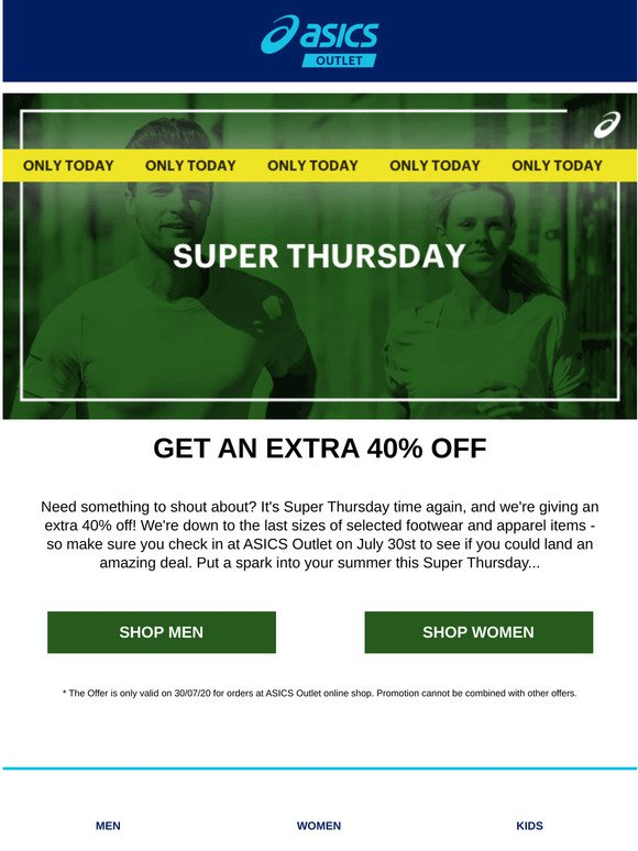 ASICS Clearance Email Newsletters: Shop
