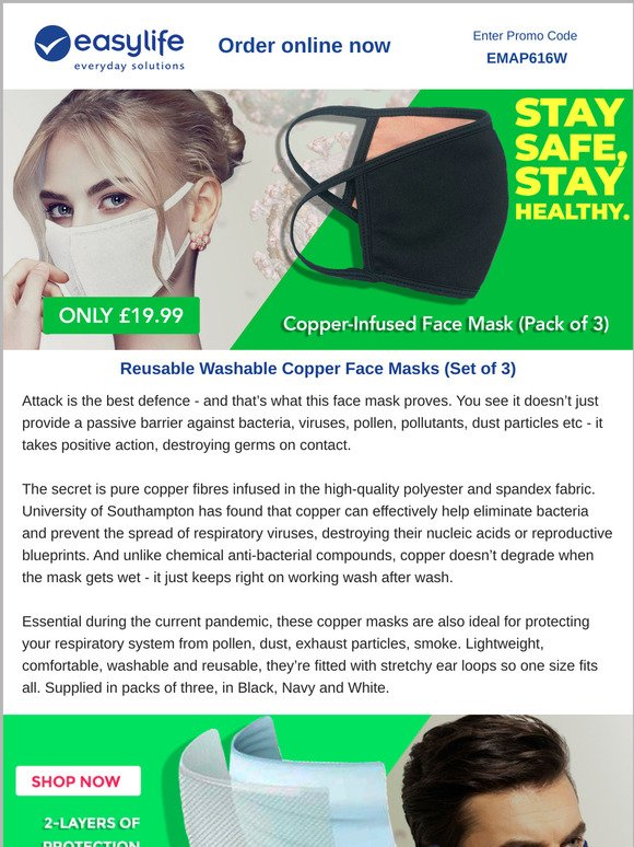 Easylife Group Protection Plus The Mask That Kills Bacteria Viruses On Contact Milled