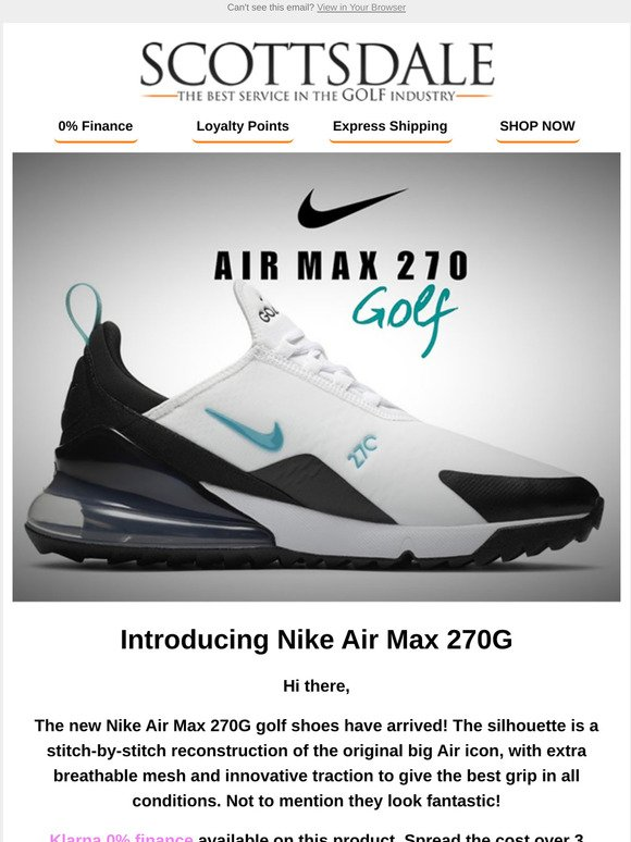 Scottsdale Golf Nike Air Max 270g Restock New Colours Milled