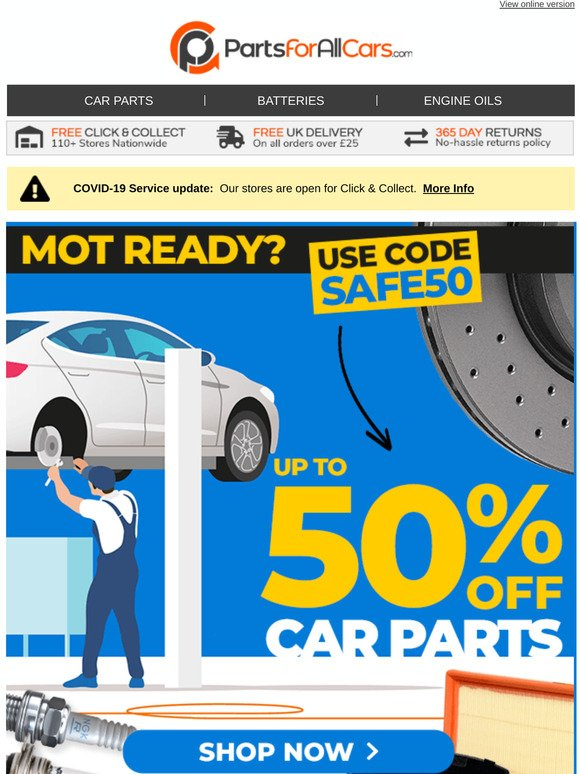 Parts For All Cars Are You Mot Ready Up To 50 Off All Servicing Parts Use Code Safe50 Milled