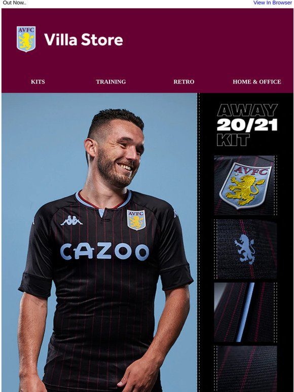 Aston Villa Uk New In Away Kit 2020 21 Milled