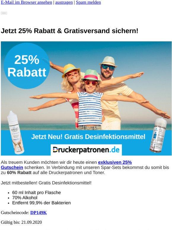 ⚠️ 25% Rabatt & Gratis Desinfektionsmittel sichern!