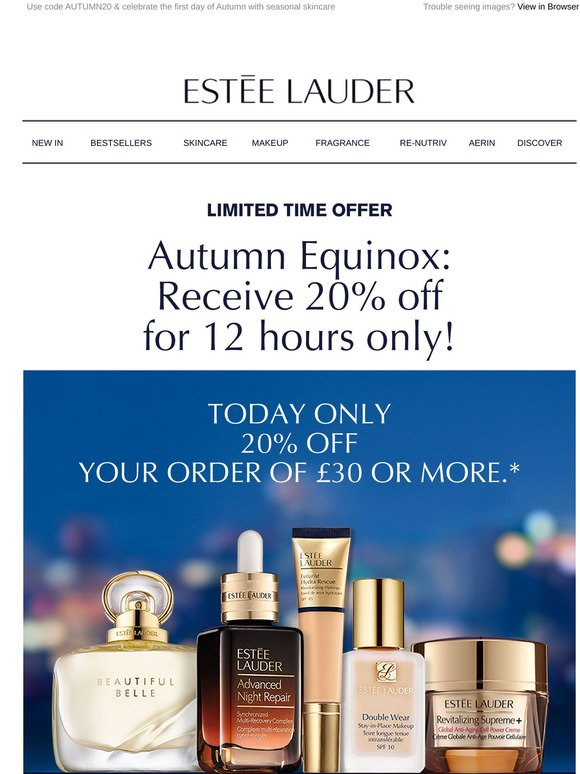 Estee Lauder 20 Off For 12 Hours Only Milled